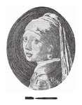 フェルメールの一筆書きアート「真珠の耳飾りの少女」.jpg